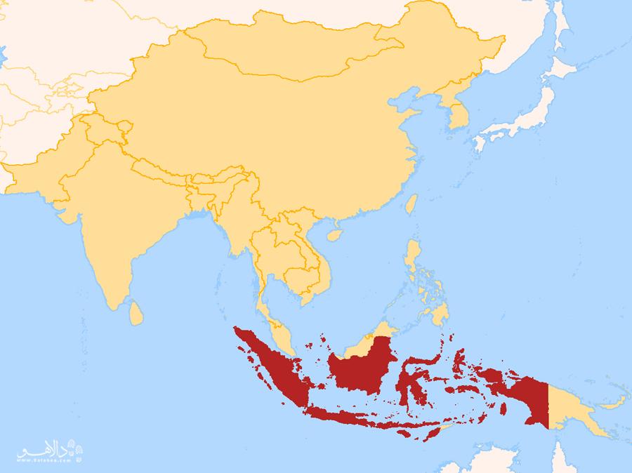 قسمتهای قرمزرنگی که میبینید، کشور اندونزی را با جزیرههایش نشان میدهد.