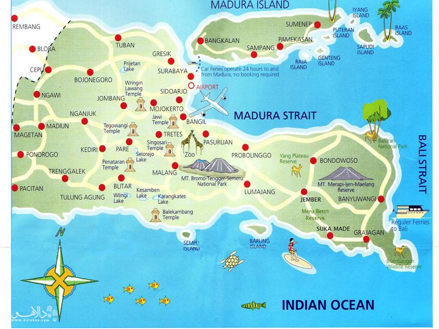 در این نقشه موقعیت جزیره و قسمتهای مختلف آن را ببینید.